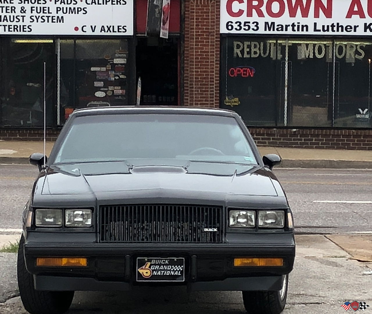 Buick Grand National out front of Crown Auto Parts